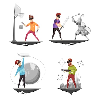Концепция виртуальной реальности 4 иконки