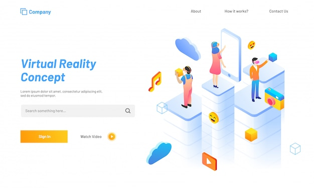 Virtual reality concept based landing page.