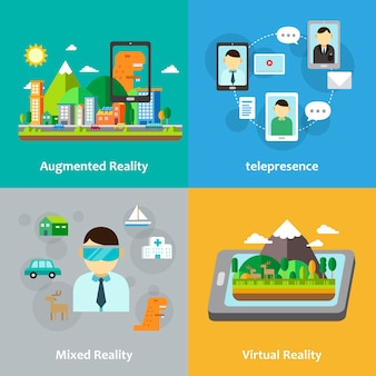 Virtual reality concept collection in flat style