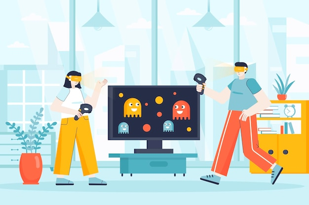 Virtual reality concept in flat design illustration of people characters for landing page