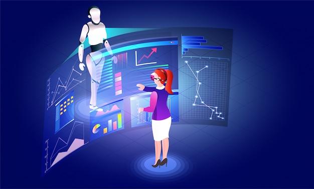 Virtual reality concept, girl analysis data.