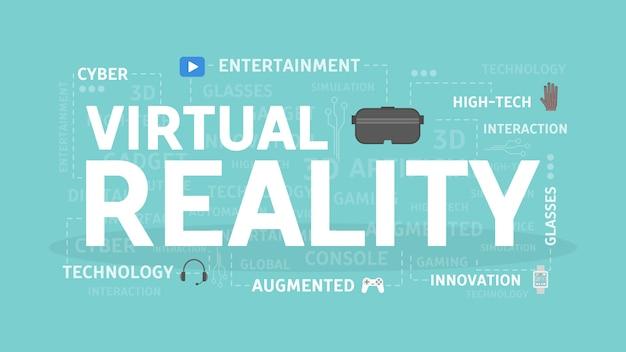 仮想現実の概念図。エンターテインメント、テクノロジー、イノベーションのアイデア。