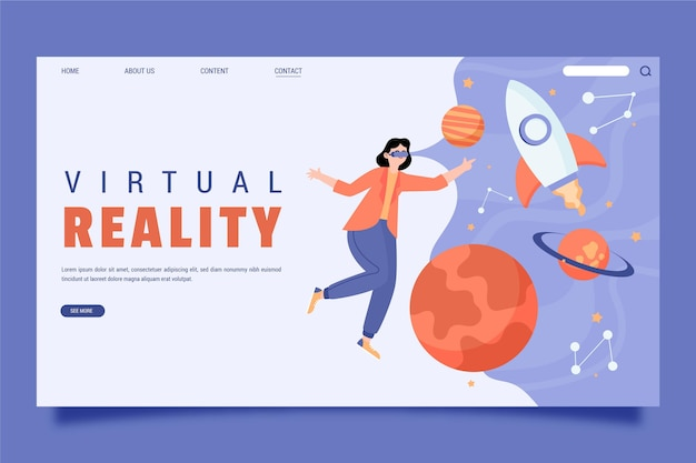 Virtual reality concept landing page template