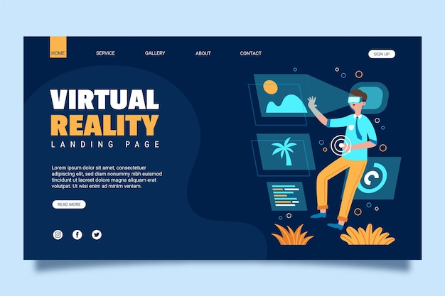Virtual reality concept landing page