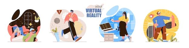 Набор концептуальных сцен виртуальной реальности мужчины и женщины в очках vr играют в видеоигры, исследуют планеты, экскурсии.