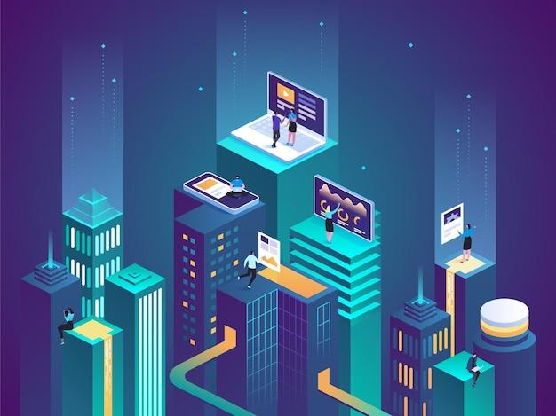 仮想現実のコンセプト。未来の社会都市。スクリーン、インタラクティブな未来の電話イノベーション。拡張現実に関する仕事、学習、娯楽の経験。フラットアイソメトリック