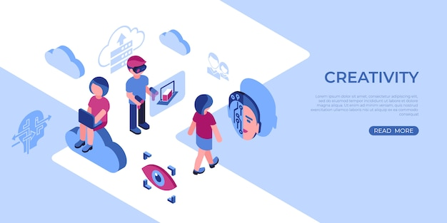 Virtual reality and creativity icons with people
