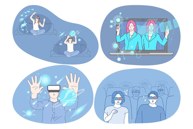 Virtual reality and cyberspace through glasses concept.