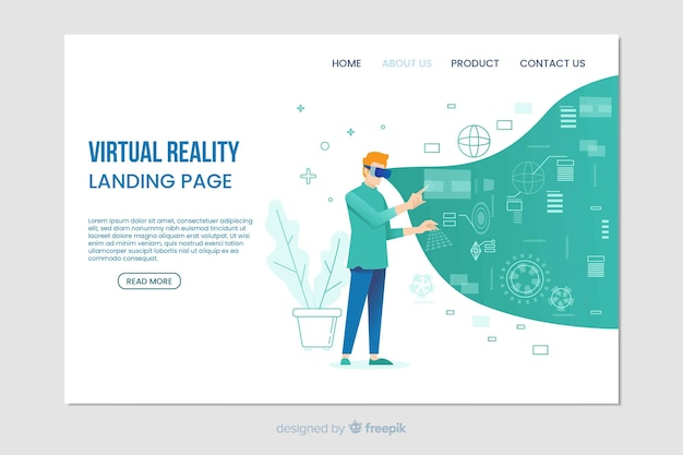 Virtual reality digital landing page
