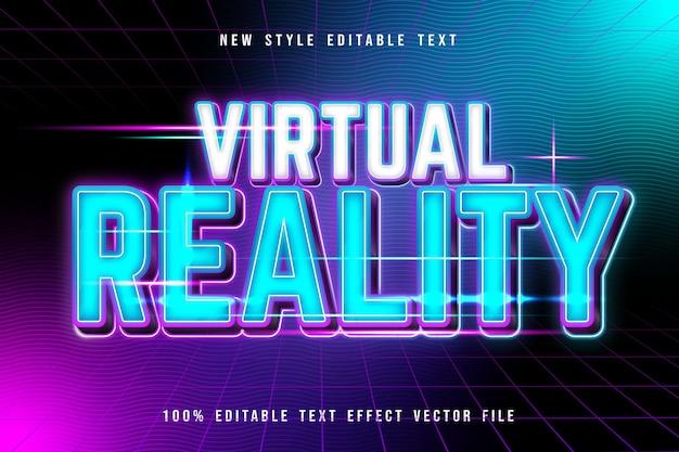 Virtual reality editable text effect modern neon style