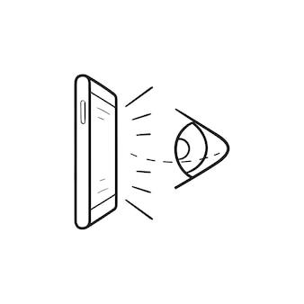 가상 현실 눈과 휴대 전화 손으로 그린 개요 낙서 아이콘. 미래 vr 기술, 시선 추적 개념