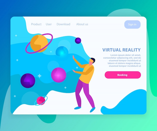 Virtual reality flat and colored landing page with booking page for internet site