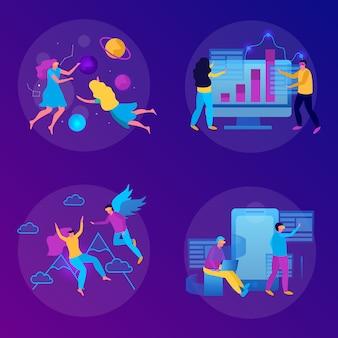 Плоская концепция виртуальной реальности с парой людей, играющих в очки виртуальной реальности