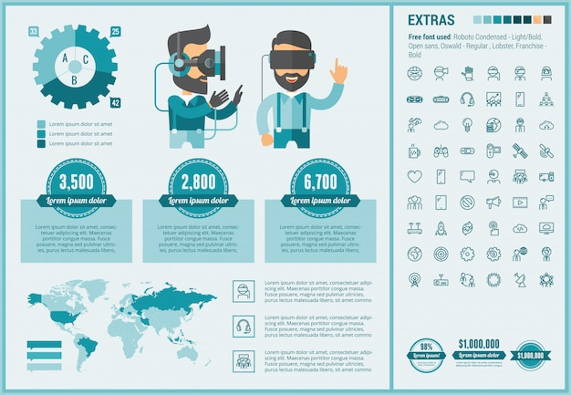 Virtual reality flat design infographic template and icons set