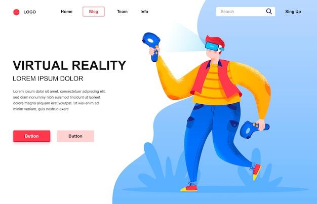 Композиция плоской целевой страницы виртуальной реальности.
