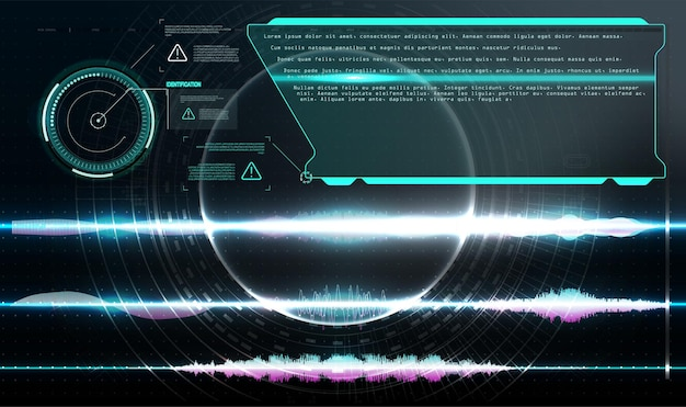 가상 현실. 미래형 vr 헤드업 디스플레이 디자인.hud, gui, ui. 콜아웃 제목. 설명선 막대 레이블, 정보 통화 상자 막대 및 최신 디지털 정보. 기술 디지털 정보 상자 hud 템플릿입니다.