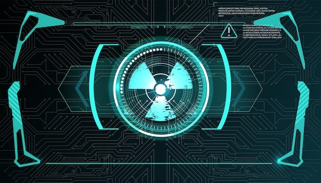 Виртуальная реальность. футуристический проекционный дисплей vr. научно-фантастический шлем hud, gui, ui. футуристический дисплей с данными, спидометром и панелью статистики.