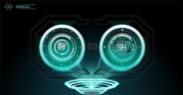 Виртуальная реальность. футуристический проекционный дисплей vr. научно-фантастический шлем hud, gui, ui.