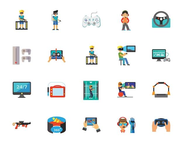 Virtual reality games icon set