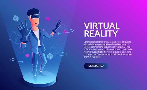Игры в виртуальной реальности. человек, носящий гарнитуру vr в абстрактном кубическом футуристическом цифровом мире с неоновым светом. векторная иллюстрация