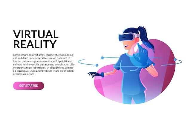 Игры в виртуальной реальности. женщина, носящая гарнитуру vr в абстрактном футуристическом цифровом мире линии с неоновым цветом свечения. векторная иллюстрация