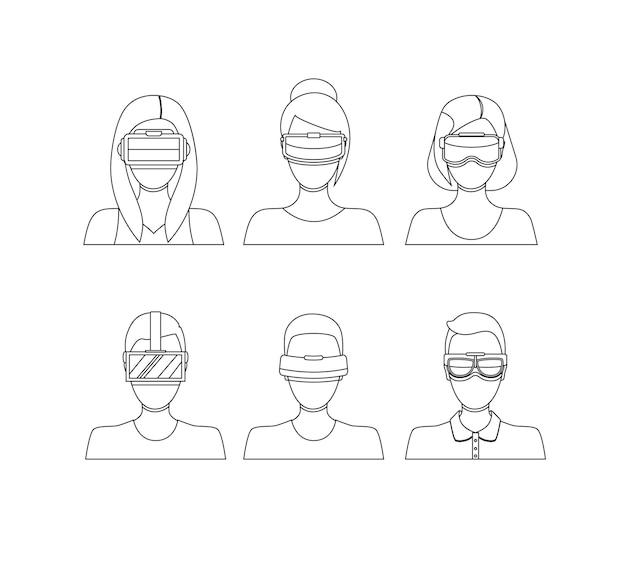 バーチャルリアリティメガネアバター細い線は、技術機器フラットデザインスタイルを持つ人々を設定します。ベクトルイラスト