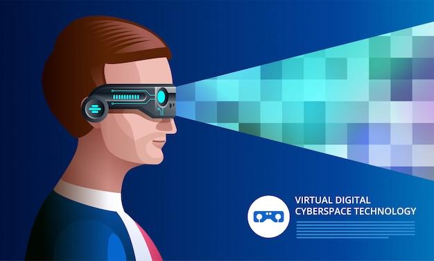 가상 현실 안경 개념. vr 헤드셋을 착용 한 남자. 삽화