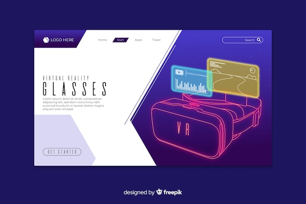 Virtual reality glasses landing page