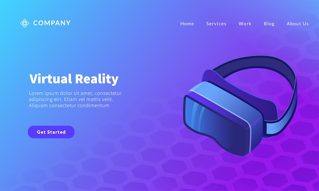Virtual reality glasses for website template or landing homepage banner