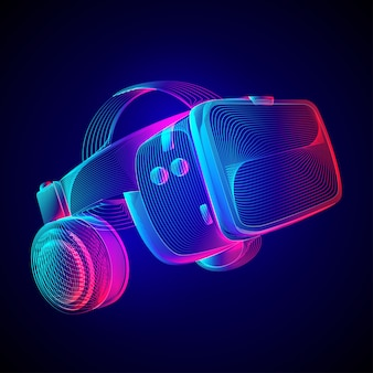 Virtual reality headset. abstract vr helmet with glasses and headphones. outline  illustration of augmented reality future technology concept in line art style on neon