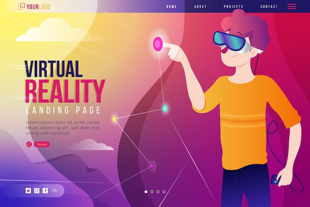 Virtual reality headset glasses landing page