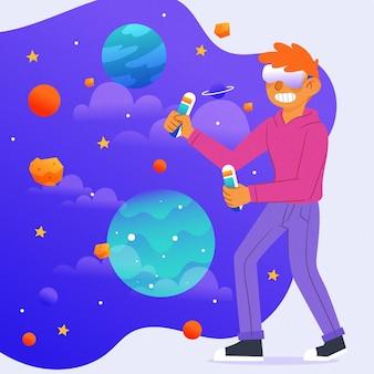 Concetto di spazio e pianeti delle cuffie da realtà virtuale