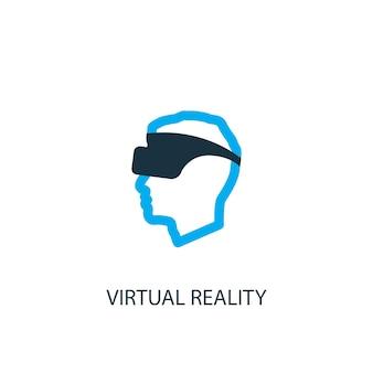 Значок виртуальной реальности. иллюстрация элемента логотипа. дизайн символа виртуальной реальности из 2-х цветной коллекции. простая концепция виртуальной реальности. может использоваться в интернете и на мобильных устройствах.