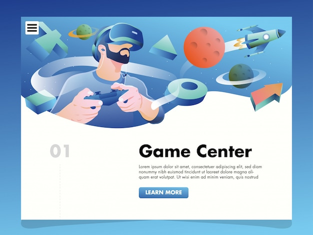 Virtual reality illustration for landing page template