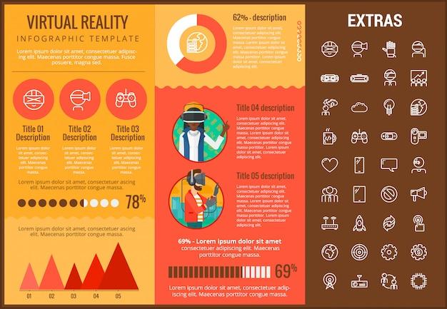 가상 현실 Infographic 템플릿 및 요소 프리미엄 벡터