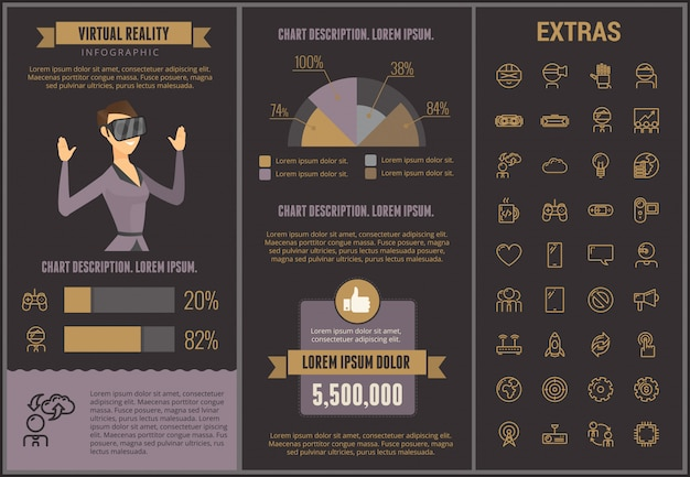 Virtual reality infographic template and elements