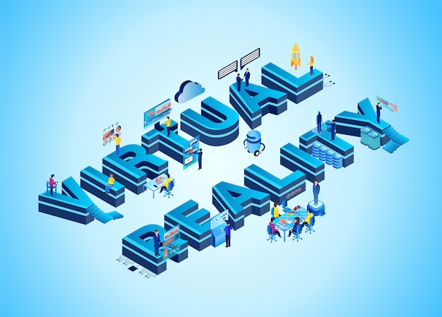 Virtual reality isometric 3d neon word with people