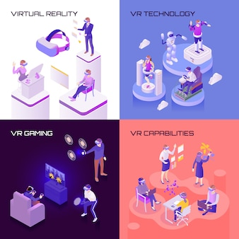 Virtual reality isometric design concept