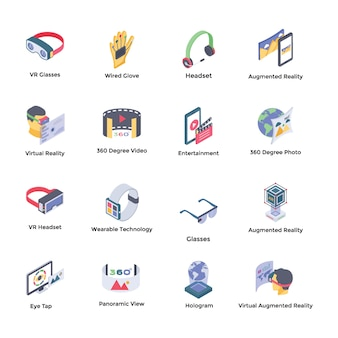 Virtual reality isometric icons