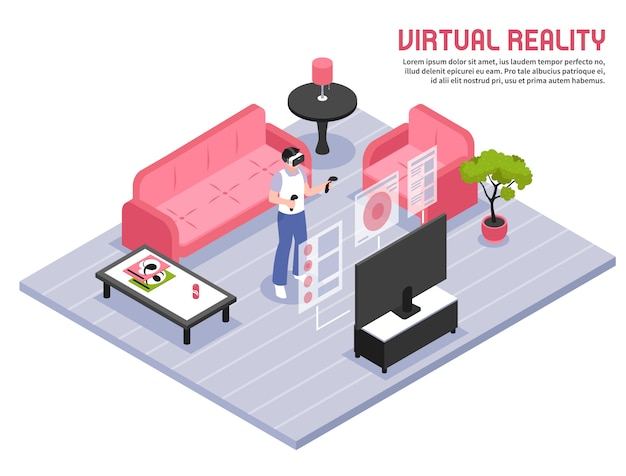 Virtual reality isometric illustration