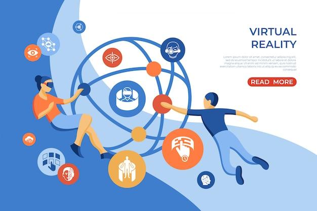 Изометрическая целевая страница виртуальной реальности