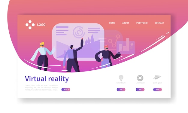Virtual reality landing page. augmented reality banner with flat people characters website template. easy to edit and customize.