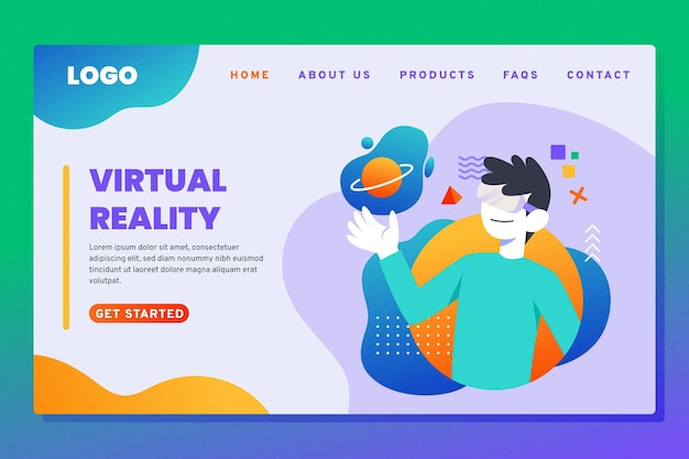 Virtual reality landing page learning concept