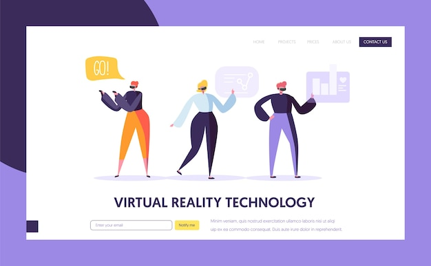 Virtual reality landing page template. augmented reality concept for website or web page.