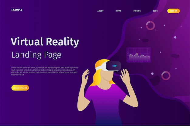 The virtual reality landing page template can be used for websites
