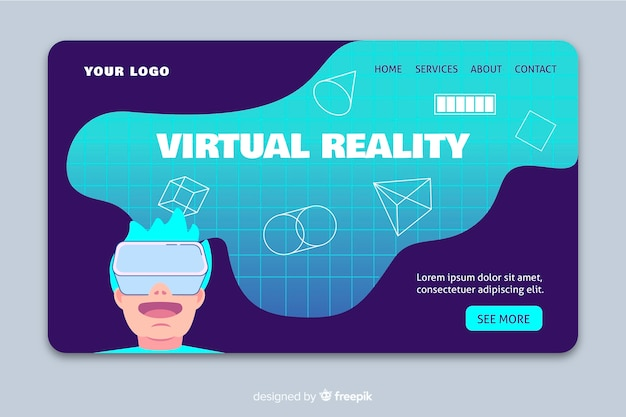 Virtual reality landing page template