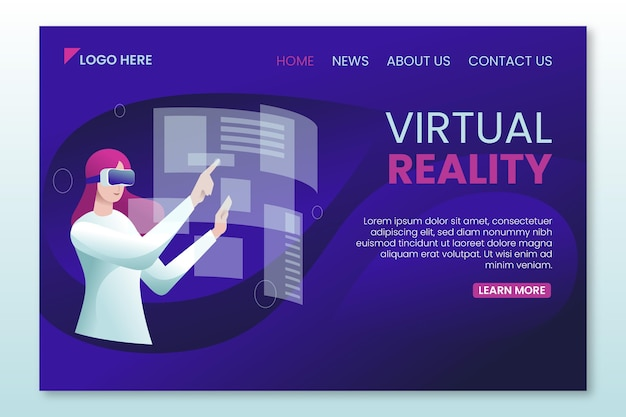 Virtual reality landing page web template