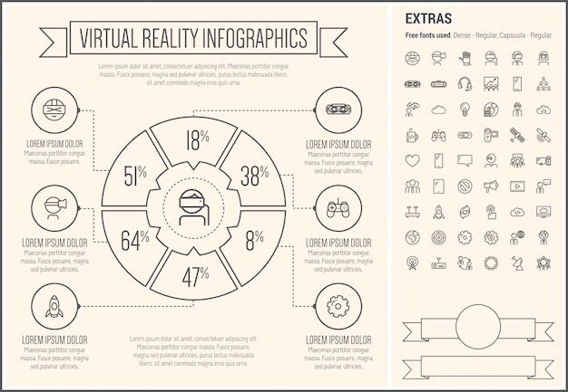 Virtual reality line design infographic template