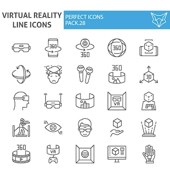 仮想現実ラインアイコンセット、拡張現実コレクション