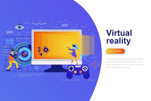 Virtual reality modern flat concept web banner